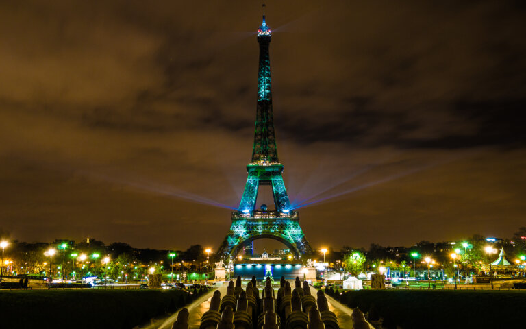 Eiffel Tower in Paris for COP21 conference