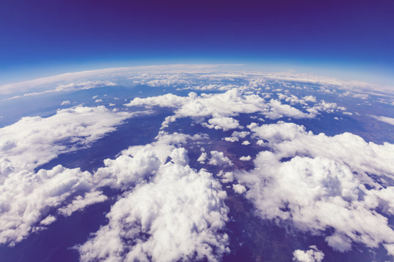 White clouds seen from above the sky